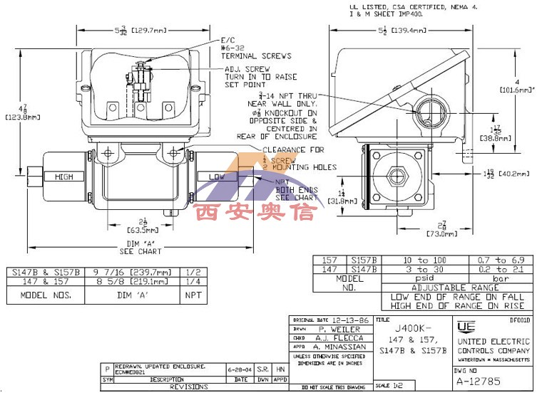 J400K-S147B 美国UE差压开关J400K-S157B参数及尺寸
