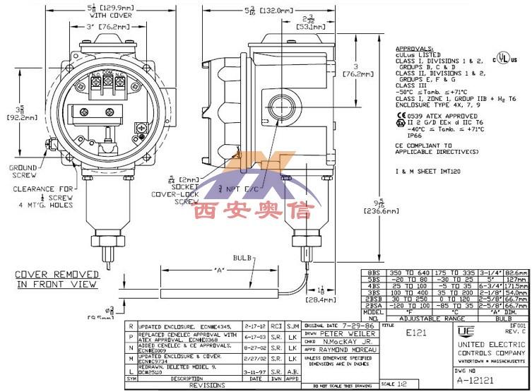 E121-2BSA 防爆温度开关E121-3BS尺寸